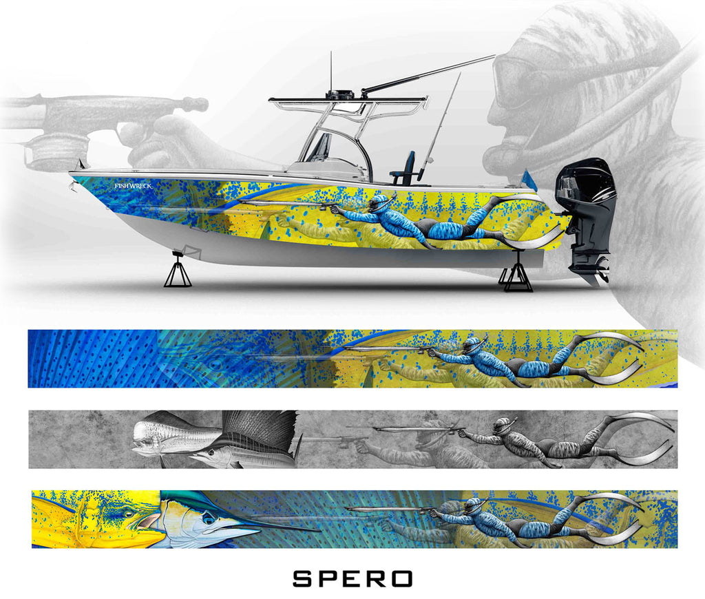 Spearfishing, Mahi Mahi, Sailfish Boat Wrap