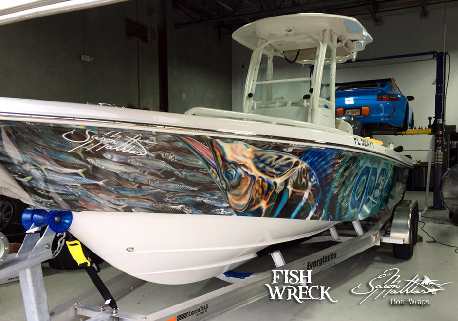 striped marlin billfish boat wrap