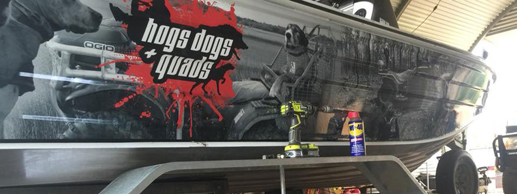 Hogs, Dogs and Quads boat wrap Darwin Northern Territory