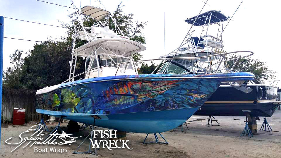 Boat wraps fishwreck fishing apparel and boat wraps for Fishing boat wraps