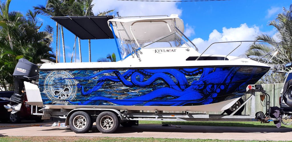 Kraken, Octopus Luminous Boat Wrap - Rockhampton, Queensland