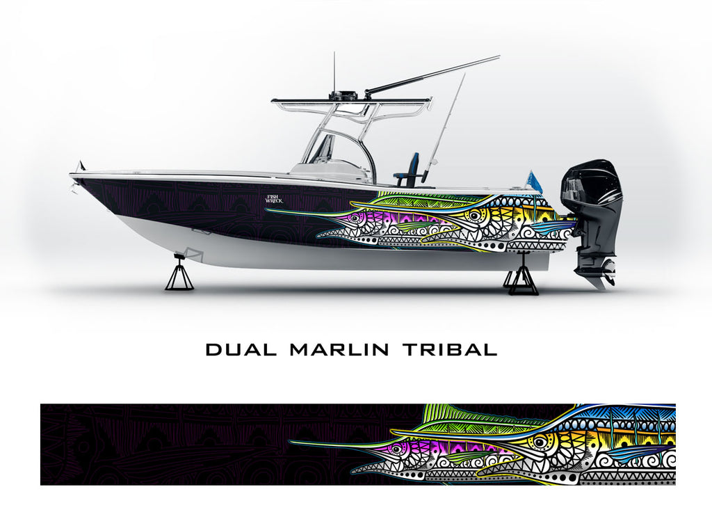 Marlin Tribal Boat Wrap
