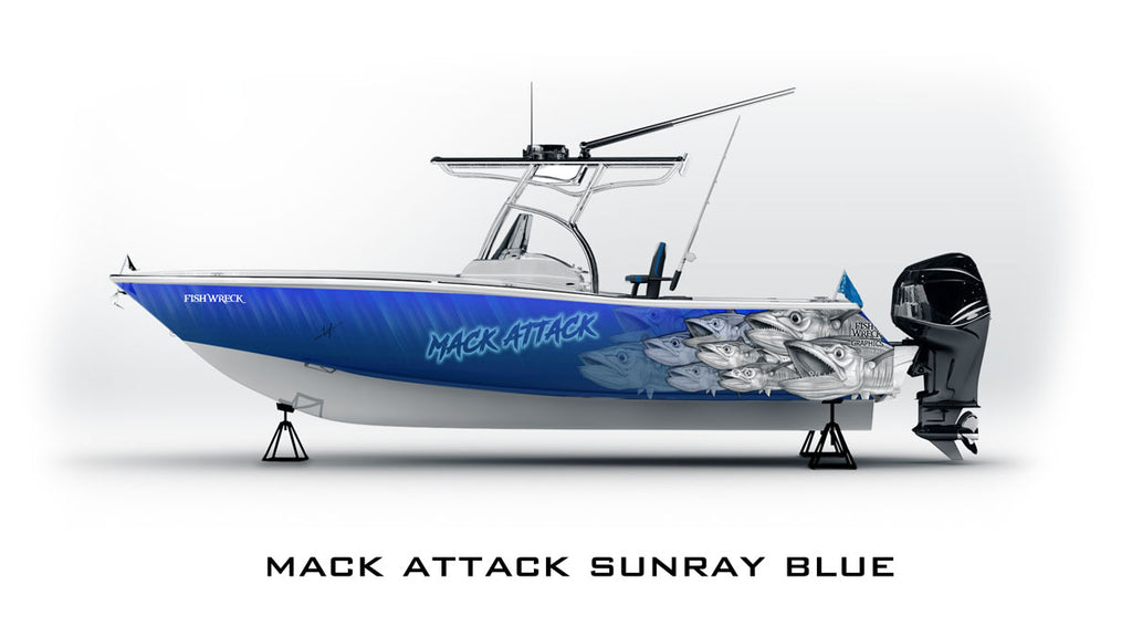spanish mackerel boat wrap blue