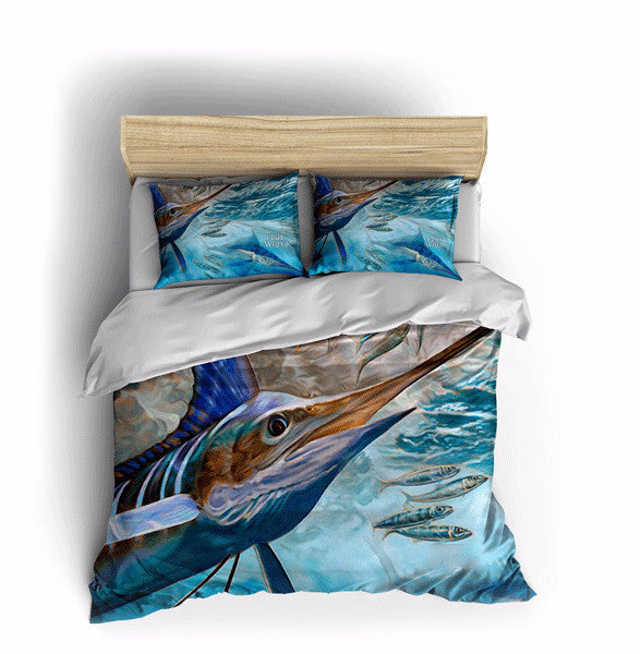 Blue marlin bed sets fishwreck fishing apparel and for Fishing bedding sets