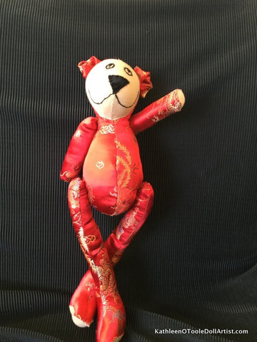 Happy Bear: Red Silk Brocade 45 cm / 18""