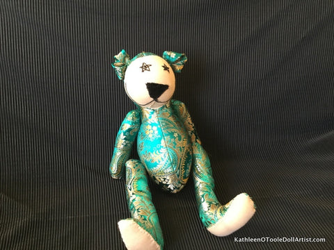 Happy Bear: Green Silk Brocade 40.5 cm / 16""