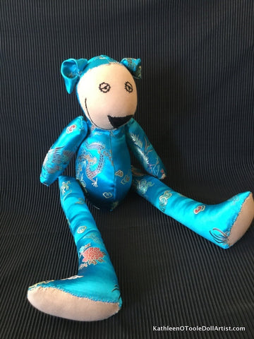 Happy Bear: Turquoise Silk Brocade 45 cm / 18""
