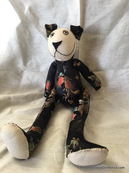 Happy Bear: Black Silk Brocade 45 cm / 18""