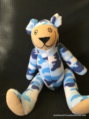 Happy Bear: Blue Camouflage Fleece 40.5 cm / 16 ""