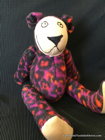 Happy Bear: Purple Leopard Fleece 40.5 cm / 16 ""