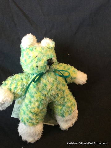"Fuzzy Sock Puppy Green  6."" 15 cm Top of ear to toe"