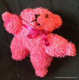 "Fuzzy Sock Teddy  Hot Pink  6."" 15 cm Top of ear to toe"