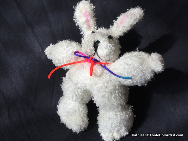 "Fuzzy Sock Bunny White  with Black eyes and nose 8"" 20 cm Top of ear to toe"