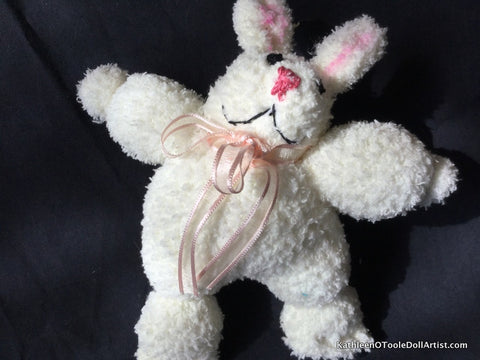 "Fuzzy Sock Bunny White  with Blue eyes and Pink nose 8"" 20 cm Top of ear to toe"
