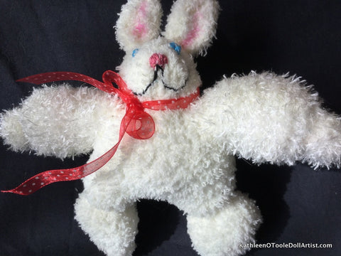 "Fuzzy Sock Bunny White  with Black eyes and Pink nose 8"" 20 cm Top of ear to toe"