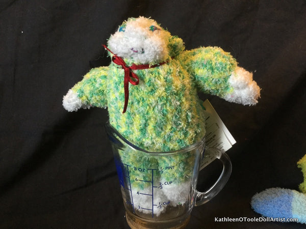 "Fuzzy Sock Monkey Green  6."" 15 cm Top of ear to toe"