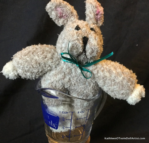 "Fuzzy Sock Bunny with Beige Tweedy Pattern 8"" 20 cm Top of ear to toe"