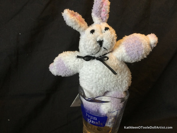 "Fuzzy Sock Bunny White with Lavender Polka Dots with Black eyes 8"" 20 cm Top of ear to toe"