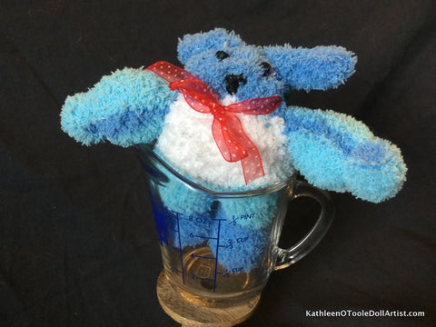"Fuzzy Sock Puppy Blue Stripe  6."" 15 cm Top of ear to toe"