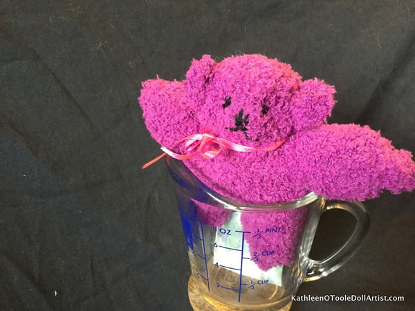 "Fuzzy Sock Teddy Purple 6."" 15 cm Top of ear to toe"