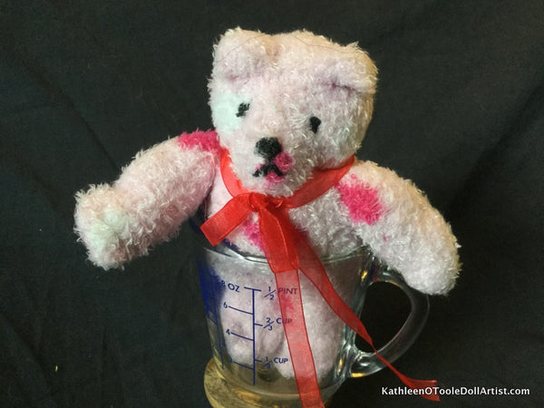 "Fuzzy Sock Teddy Pink Polka Dot  6."" 15 cm Top of ear to toe"