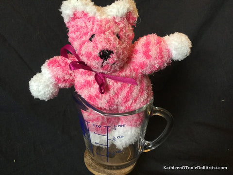 "Fuzzy Sock Teddy Pink Tweed 6."" 15 cm Top of ear to toe"