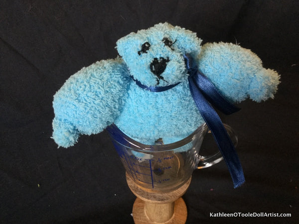 "Fuzzy Sock Teddy Blue 6."" 15 cm Top of ear to toe"