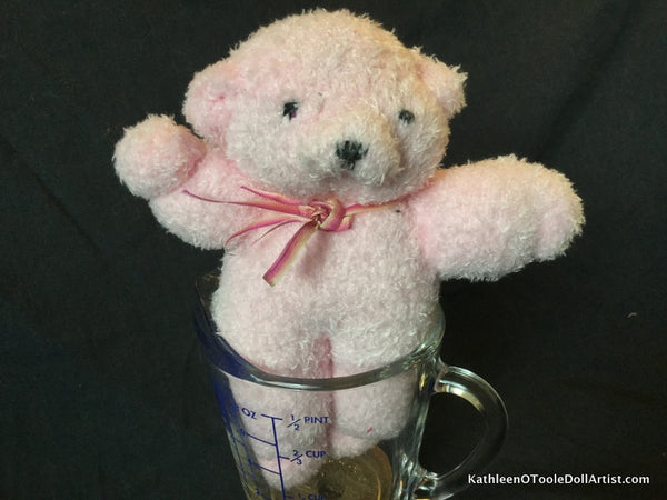 "Fuzzy Sock Teddy Pale Pink  6."" 15 cm Top of ear to toe"