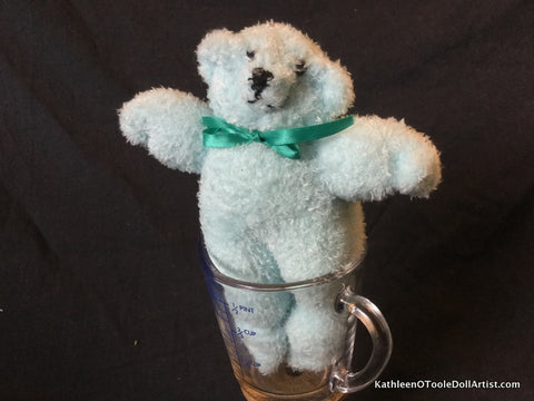 "Fuzzy Sock Teddy Pale Blue  6."" 15 cm Top of ear to toe"