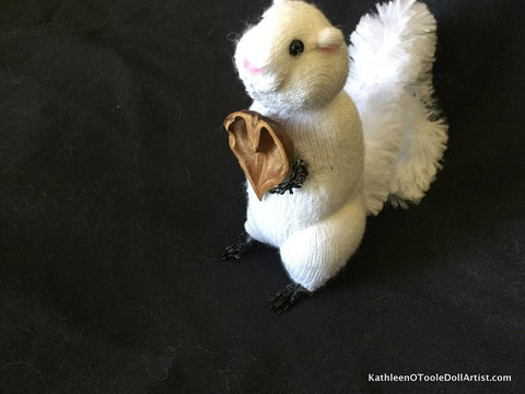 "White Squirrel Doll Ornament 4.5"" 11.5 cm"