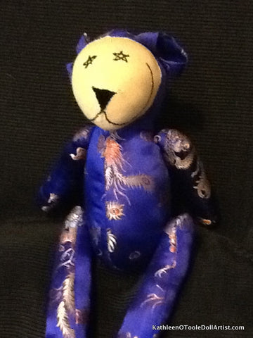 Happy Bear: Blue Silk Brocade 46 cm / 18 ""