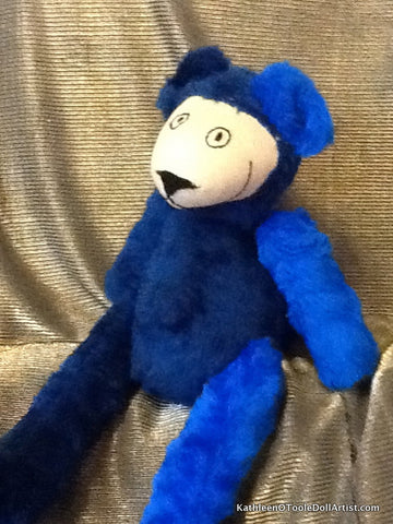 Happy Bear: Two Tone Blue Faux Fur 43 cm / 17 ""