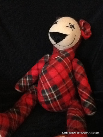 Happy Bear: Large Red Plaid Fleece 68.5 cm / 27 ""