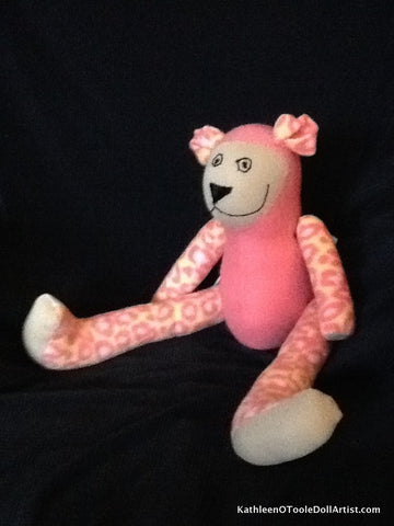 Happy Bear: Pink Fleece Body Mix with Pink Leopard 43 cm / 17 ""