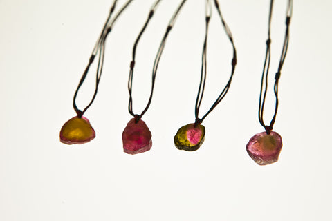 Watermelon Tourmaline Drop Necklace (set 3)