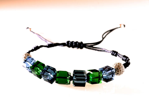 Coloured (Blue/Green) Crystal Cube bracelet
