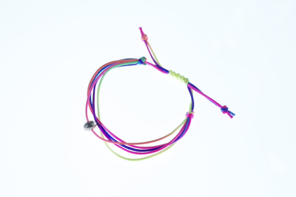 Neon highlighter bracelet with silver