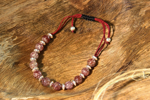 Strawberry Quartz and Silver Bracelet