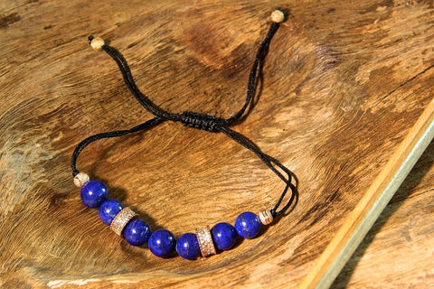 Lapis Lazuli and Gold Ring Bracelet