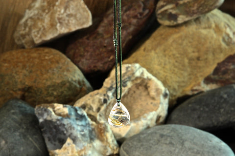 Gold Rutilated Quartz Pear-shaped Necklace two