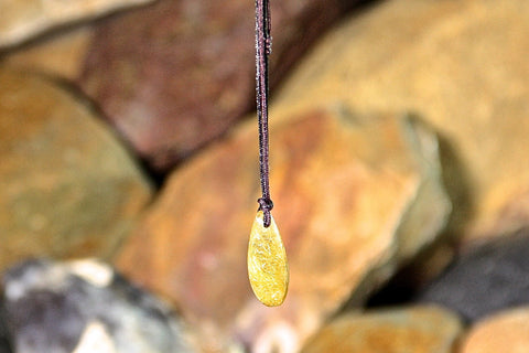 Gold Rutilated Quartz Tear-drop Necklace