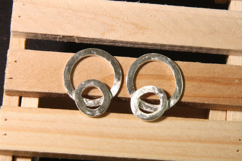Pure Silver Double Circle earrings
