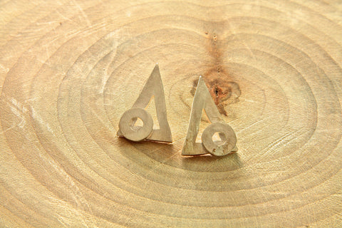 Pure Silver Triangular and Circle earrings