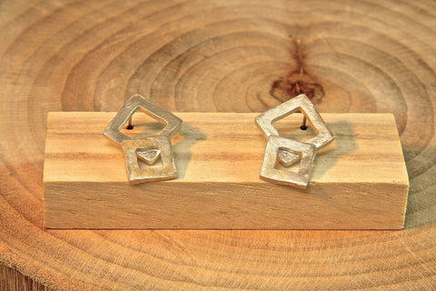 Pure Silver Double Square earrings