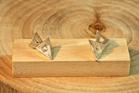 Pure Silver Double Triangle earrings
