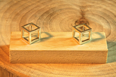 Pure Silver 3D Cube earrings