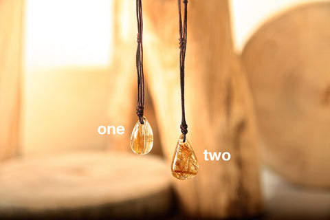 Gold Rutilated Quartz Pear-shaped Necklace four