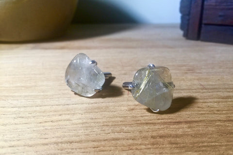Gold Rutilated Quartz cufflinks
