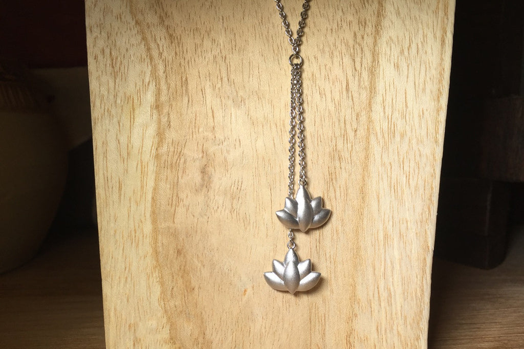 Lotus Leaf Necklace single strand double lotus