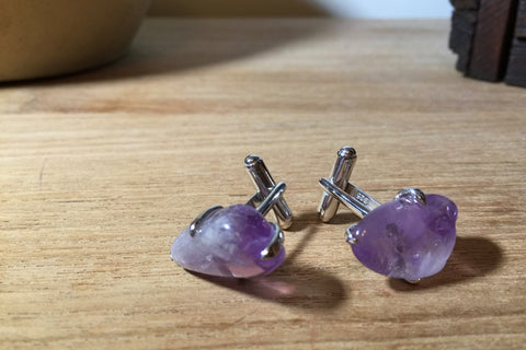 Purple Quartz cufflinks edgy